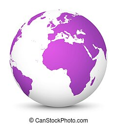 White Vector Globe Icon with Purple Continents - Planet Earth - World Symbol