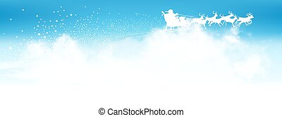 Santa Claus Flying Above The Clouds with Reindeer Sled - Panorama