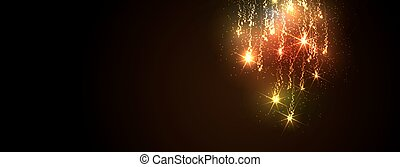 Abstract Golden Meteor Shower - Firework Falling Stars Trail...