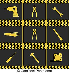 Repairing service tool sign icons ser