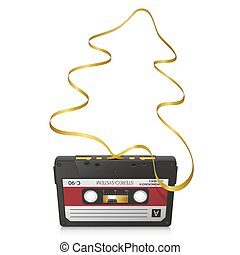 Audio Cassette with Abstract Curved Golden Tape