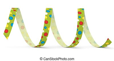 Green Vector Paper Streamer with Colored Dots - Blow Out -...