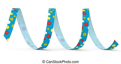 Blue Vector Paper Streamer with Colored Dots - Blow Out -...