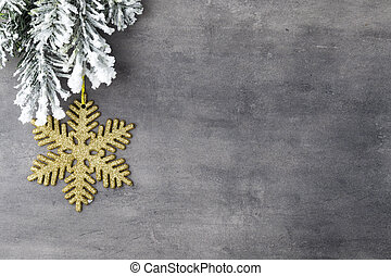 Fir tree. - Fir tree covered with snow on gray board.
