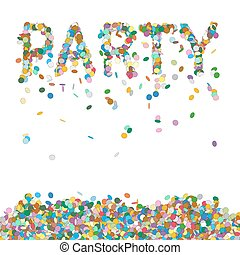 Abstract Colourful Confetti Word - PARTY Letter