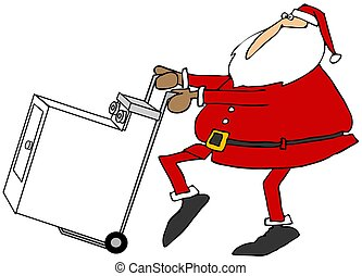 Santa with a new clothes dryer