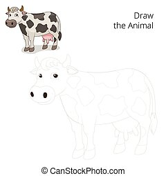 Draw the animal cow educational game vector - Draw the...