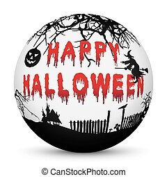 Sphere with Bloody Happy Halloween Text and Black Silhouettes