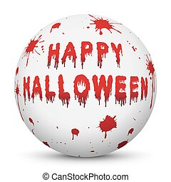 White Sphere with Bloody Happy Halloween Text