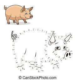 Connect the dots game pig vector illustration - Connect the...