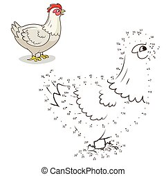 Connect the dots game hen vector illustration - Connect the...