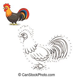 Connect the dots game rooster vector illustration - Connect...