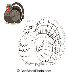 Connect the dots game turkey vector illustration - Connect...