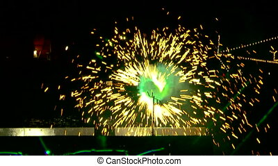 Military ship - Two frame. Beautiful fireworks on the day of...