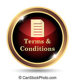 Terms and conditions icon. Internet button on white...