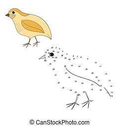 Connect the dots game quail vector illustration - Connect...