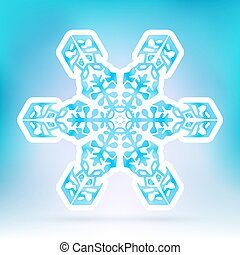 Abstract Snowflake Symbol with Ice Blue Background Gradient