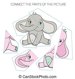 Puzzle game for chldren elephant