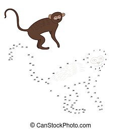 Connect the dots game vervet ape vector - Connect the dots...