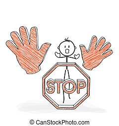Stick Figure Cartoon - Stickman with a Stop Sign - Icon. -...