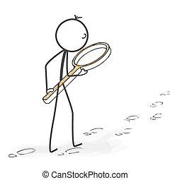 Stick Figure Cartoon - Stickman Followed Footprints with Magnifying Glass Icon.