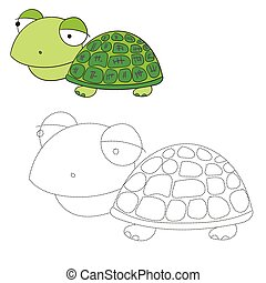 Connect the dots game turtle vector illustration - Connect...