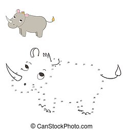 Connect the dots game rhino vector illustration - Connect...