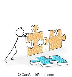 Stick Figure Cartoon - Stickman Pushes Puzzle Icons Together.