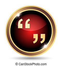 Quotation marks icon Internet button on white background