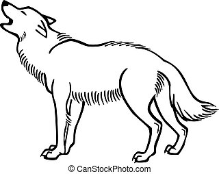Howling Wolf - vector line drawing of a wolf howling