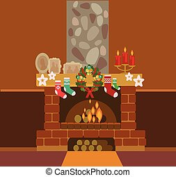 Christmas Fireplace Drawing
