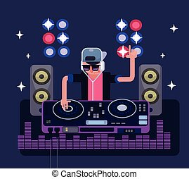 DJ vector flat illustration