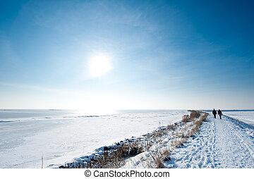 gens, marche, hiver