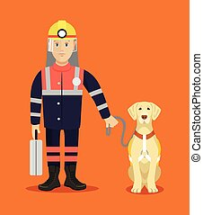 Rescuer with dog