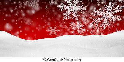 Abstract Red Background Panorama Winter Landscape with...
