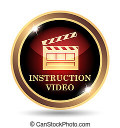 Instruction video icon. Internet button on white background....