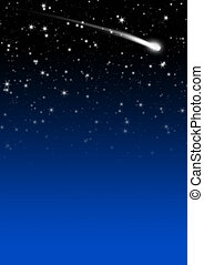 Simple Blue Starry Night Sky Background with Falling Star Tail