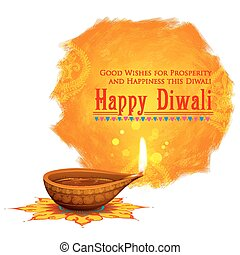 Happy Diwali background coloful watercolor diya -...