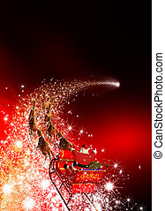 Santa Claus with Reindeer Sled Riding on a Falling Star....