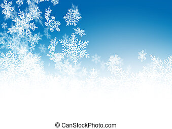 Abstract Azure Blue - Winter Background - with falling...