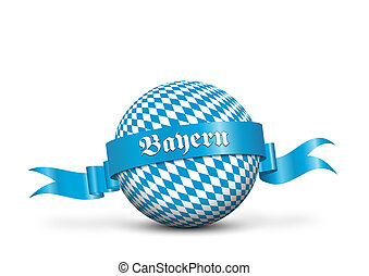 Blue pending Ribbon with Text Imprint Wrapped Around Sphere...