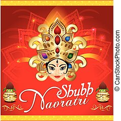 happy navratri celebration background with face of goddess...