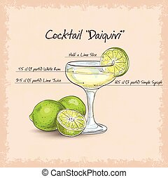 Daiquiri - Cocktail Daiquiri, low-alcohol drink. It consists...
