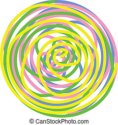 Vector circle made of twisted spirals in yellow, green, pink and blue