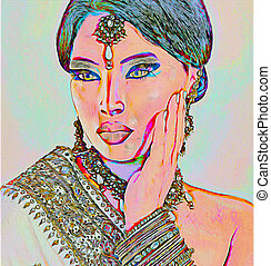 Abstract Asian or Indian Woman - Abstract digital art of...