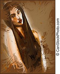 Woman covering her body with long hair - Portrait of pretty...