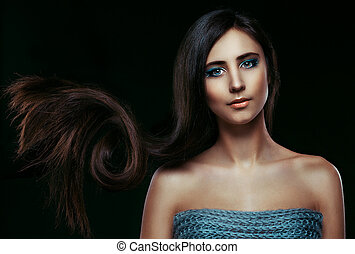 Hair. Beautiful Brunette Girl. Healthy Long Hair