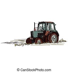 doodle tractor - Doodle tractor. Isolated in white...