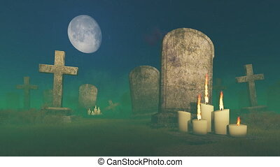 Lighted candles near old gravestone
