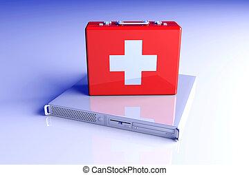 Server first aid - 3D rendered Illustration.